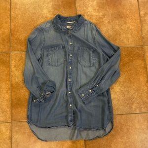 Long Sleeve Button Down Blue Shirt XXL